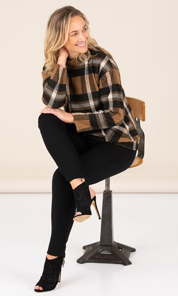 Funnel Neck Cosy Top With Pockets Black/Tan - Gallery Image 2