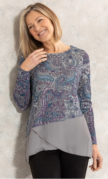 Anna Rose Layer Hem Jersey Printed Top