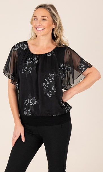 Embroidered Chiffon Overlay Top