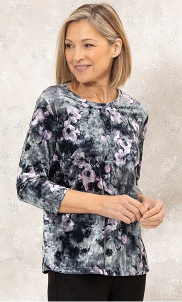 Anna Rose Velour Printed Swing Top Grey/Lilac