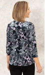 Anna Rose Velour Printed Swing Top Grey/Lilac - Gallery Image 2