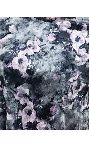 Anna Rose Velour Printed Swing Top Grey/Lilac - Gallery Image 3