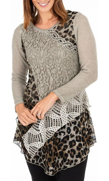 Anna Rose Multi Print Asymmetric Tunic
