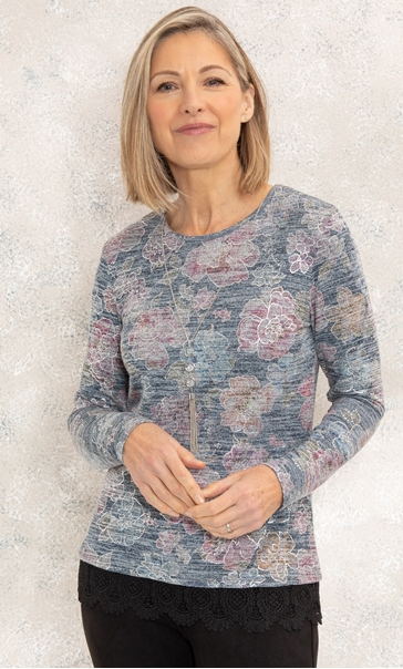Anna Rose Floral Print Lace Trim Top Black/Multi - Gallery Image 1