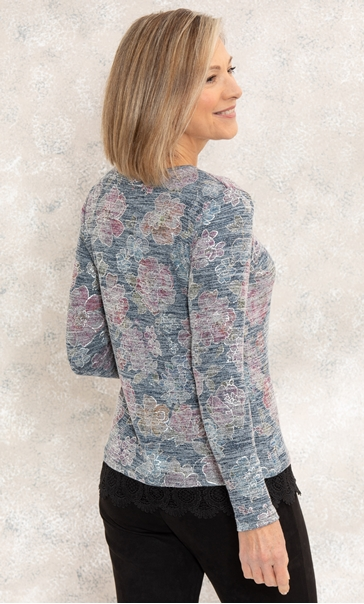 Anna Rose Floral Print Lace Trim Top Black/Multi - Gallery Image 2