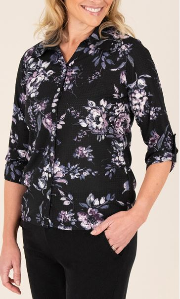 Anna Rose Floral Button Down Blouse Black/Multi