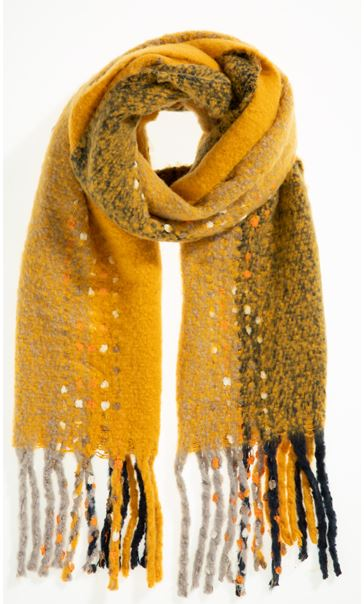 Scatter Print Tassle Scarf - Yellow
