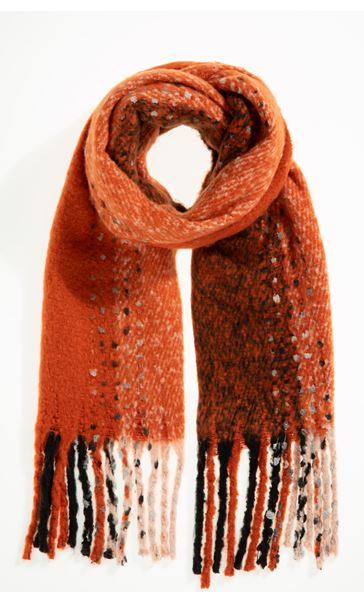 Scatter Print Tassle Scarf - Orange