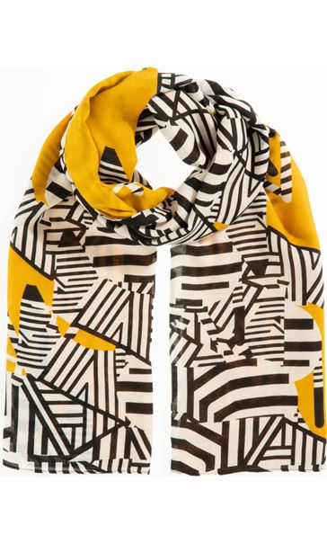 Printed Colourblock Scarf