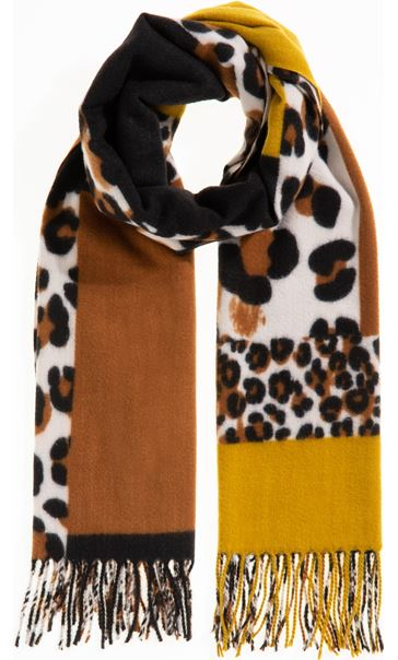 Patchwork Animal Print Scarf - Yellow