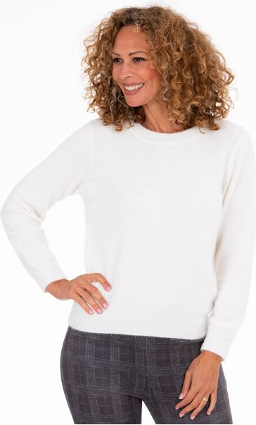 Feather Knit Embellished Top Winter White