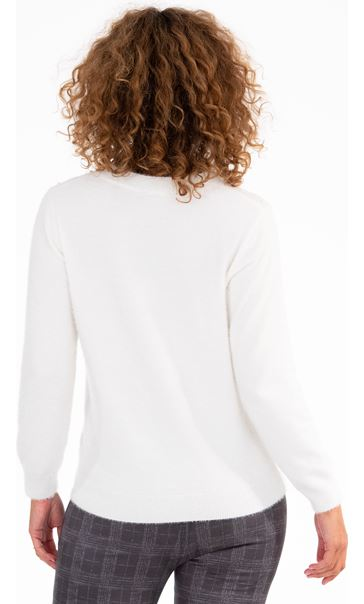 Feather Knit Embellished Top - Winter White
