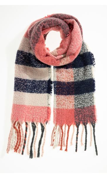 Multi Check Scarf - Red