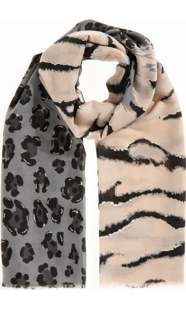 Multi Animal Print Scarf - Pink