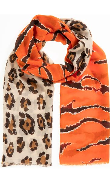 Mixed Print Lightweight Scarf - Orange