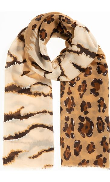 Mixed Print Lightweight Scarf - Brown
