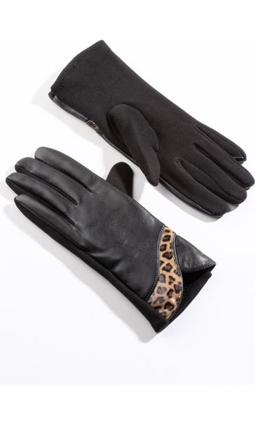 Leather Look Gloves Black