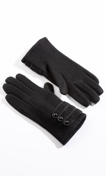 Anna Rose Woollen Button Detail Gloves - Black