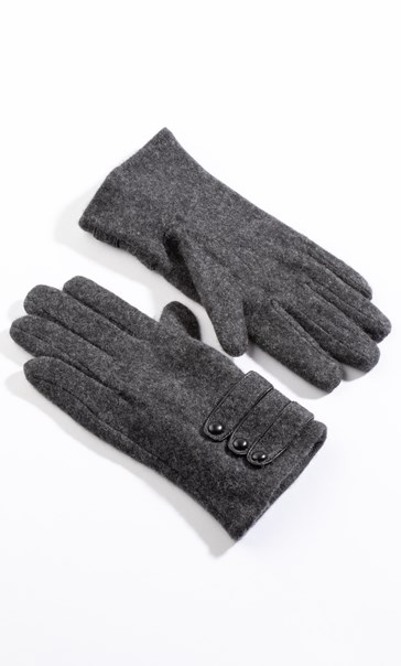 Anna Rose Woollen Button Detail Gloves - Grey