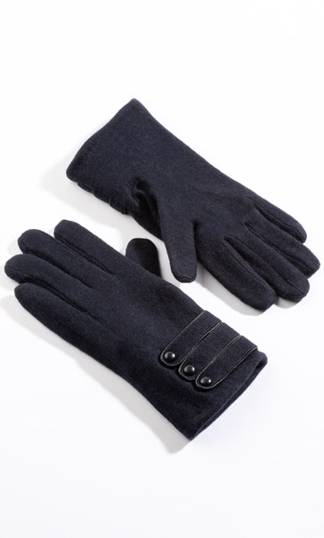 Anna Rose Woollen Button Detail Gloves - Navy