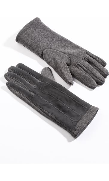 Suedette Panel Gloves - Grey