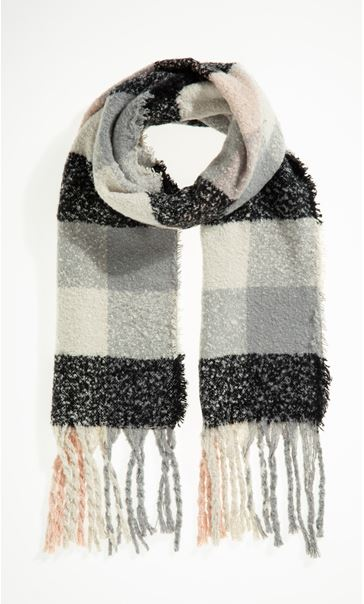 Multi Check Scarf - Black