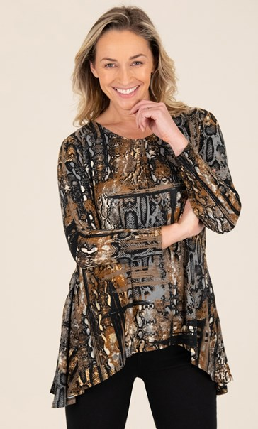 Snake Print Dip Hem Top Black/Brown