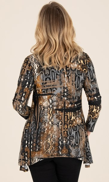 Snake Print Dip Hem Top Black/Brown - Gallery Image 2