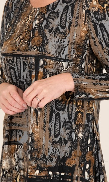 Snake Print Dip Hem Top Black/Brown - Gallery Image 3