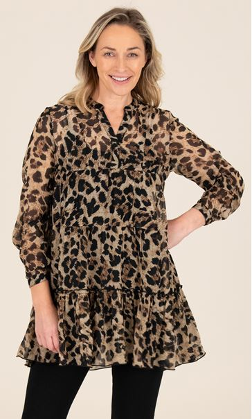 Printed Tiered Tunic Browns