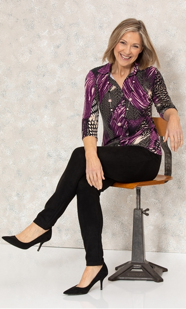 Anna Rose Jersey Shirt With Necklace - Purple/Black