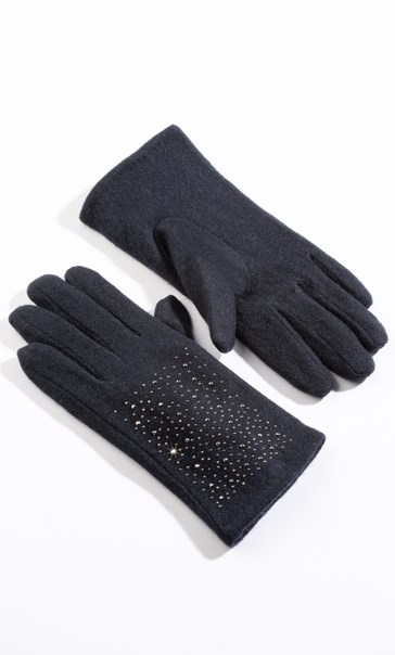 Wool Sparkle Gloves - Navy