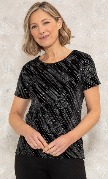 Anna Rose Stripe Sparkle Top Black/Silver