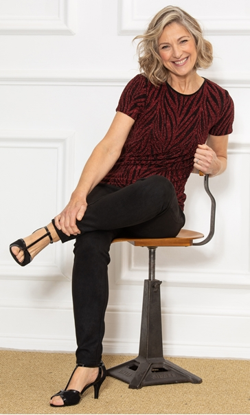 Anna Rose Sparkle Animal Print Top