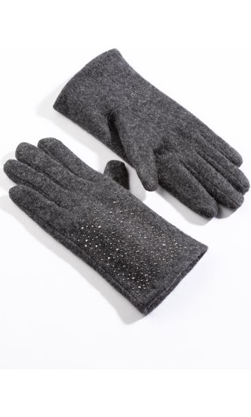 Wool Sparkle Gloves - Grey