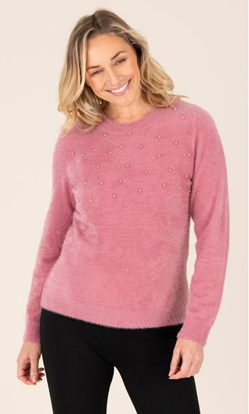 Feather Knit Embellished Top - Pink