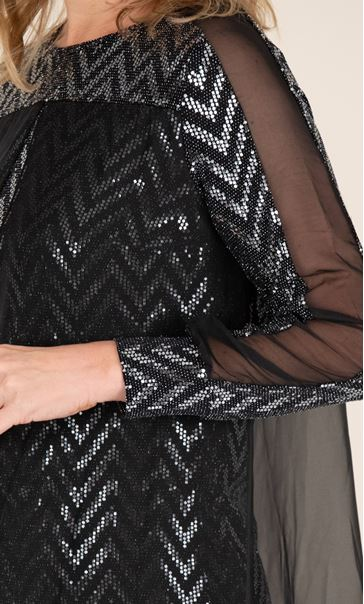 Sparkle Top With Chiffon Layer Black/Silver - Gallery Image 3