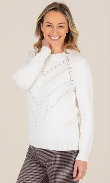 Pearl Detail Knitted Top - Ivory