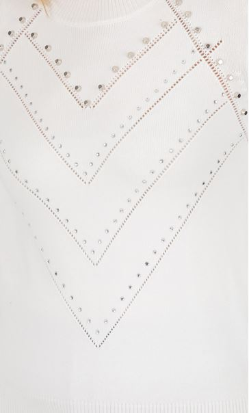 Pearl Detail Knitted Top Ivory - Gallery Image 3