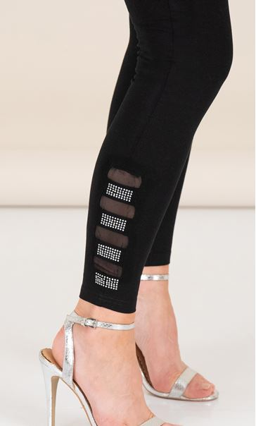 Mesh and Sparkle Leggings Black - Gallery Image 3