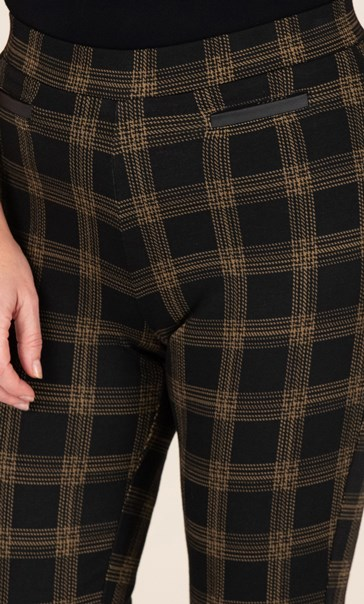 Check Pull On Trousers Black/Tan - Gallery Image 3