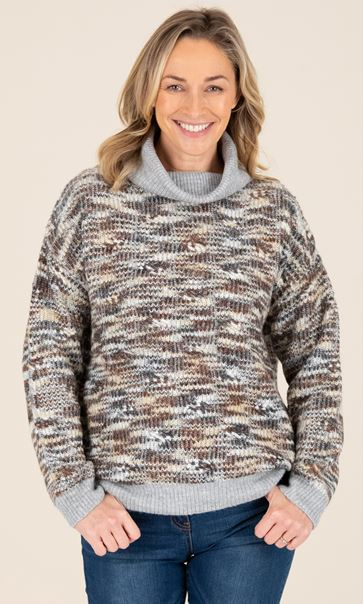 High Neck Textured Knitted Jumper Beige/Grey - Gallery Image 2