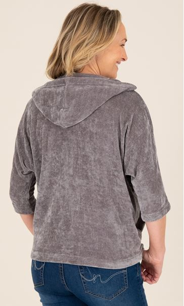 Chenille Batwing Zip Front Jacket Grey - Gallery Image 3