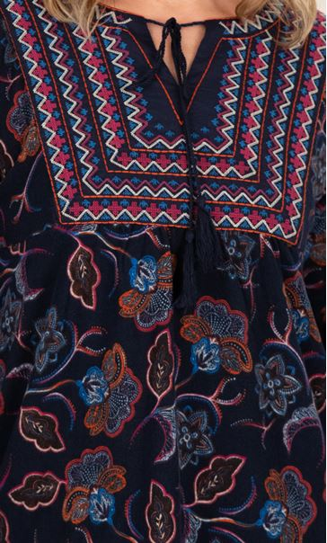 Embroidered Tunic With Tassell Detail Black/Blue - Gallery Image 3