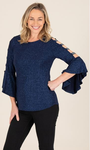 Embellished Bell Ladder Sleeve Top Midnight