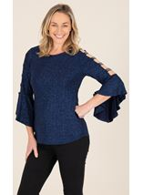 Embellished Bell Ladder Sleeve Top - Midnight