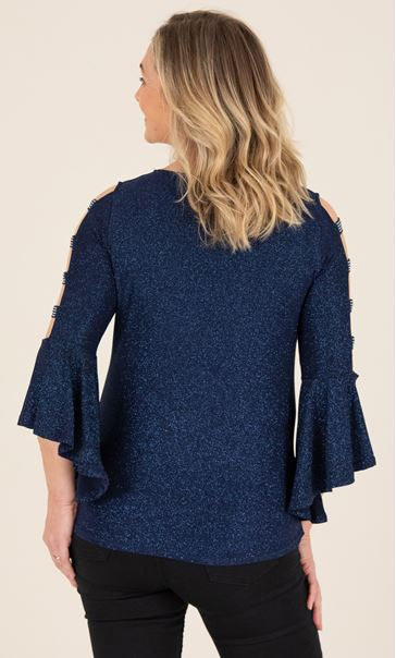 Embellished Bell Ladder Sleeve Top - Midnight - Midnight