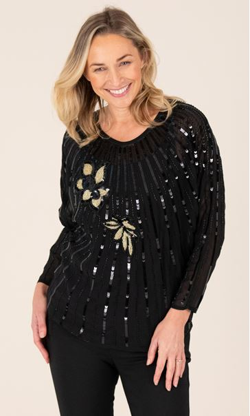Beaded Chiffon Batwing Top Black - Gallery Image 1
