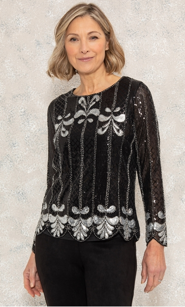 Embellished Long Sleeve Mesh Top