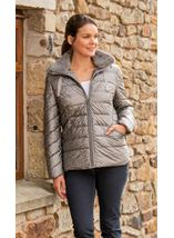 Padded Jacket With Faux Fur Trim
